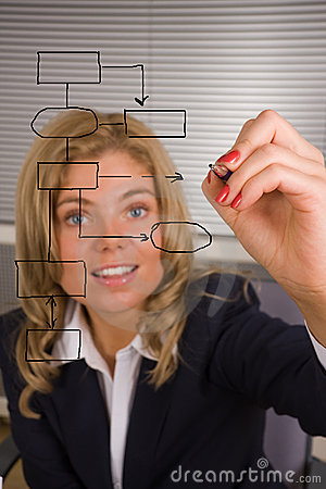 Woman designing a database plan on a screen