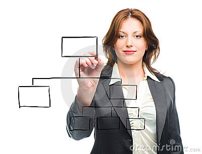 Woman designing a plan on screen