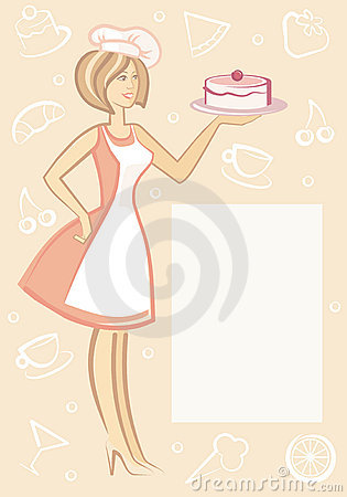 The woman with dessert on plate