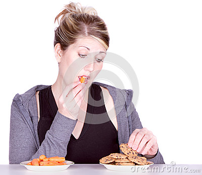Woman on diet making eating choices