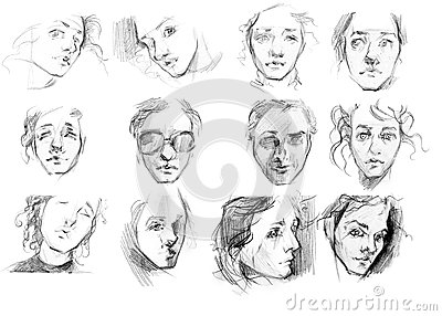 Woman in different imageries pencil sketches