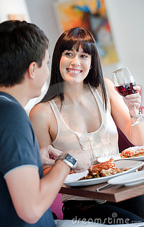 Woman Dining with Partner
