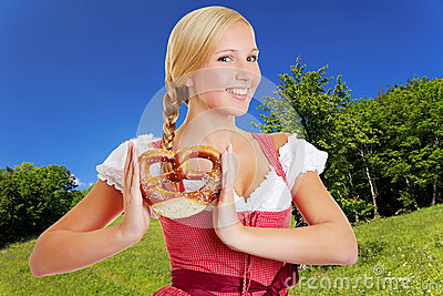 Woman in dirndl in bavarian