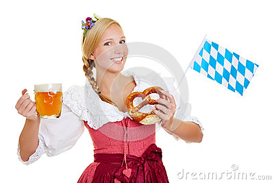 Woman in dirndl with beer