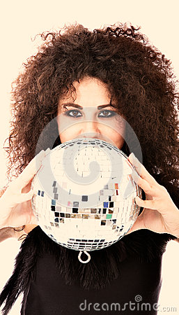 Woman with disco ball