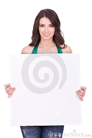 Woman displaying a banner ad
