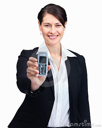 Woman displaying a mobile phone on white