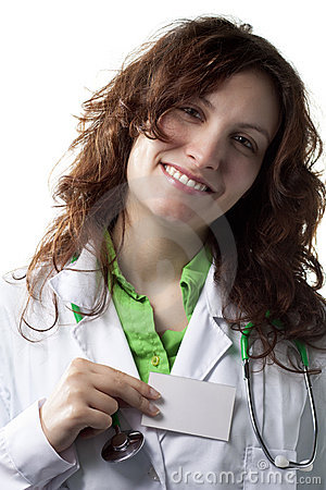 Woman Doctor with Badge