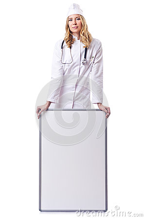Woman doctor with  board