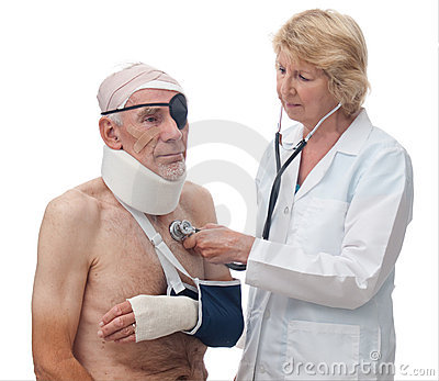 Woman doctor checking senior patient with injuries