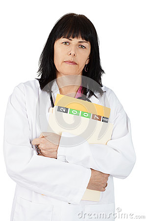 Woman doctor with file