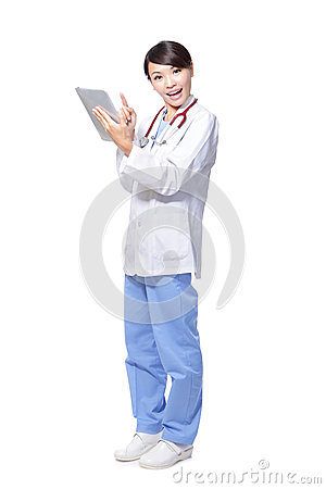 Woman doctor happy using tablet pc
