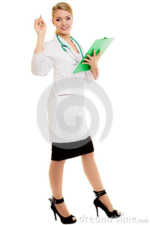 Woman doctor in lab coat with stethoscope. Medical Stock Photo