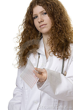 Woman doctor with money order, doctor costs