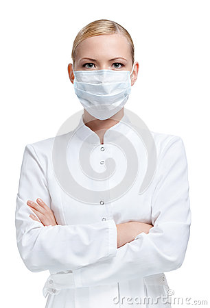 Woman doctor in respirator