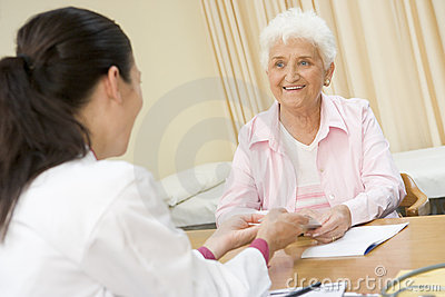 Woman in doctor's office