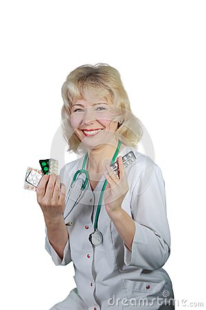 The woman , doctor shows medicines and smiles