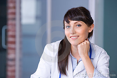 Woman doctor thinking