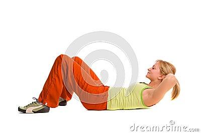 Woman does gymnastics