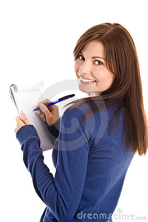 Free Woman Does Records By Pen In Notepad Royalty Free Stock Photo - 11021155