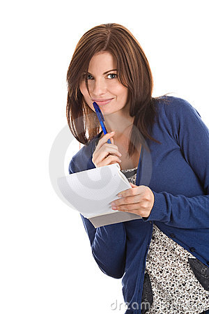 Woman does records by pen in notepad
