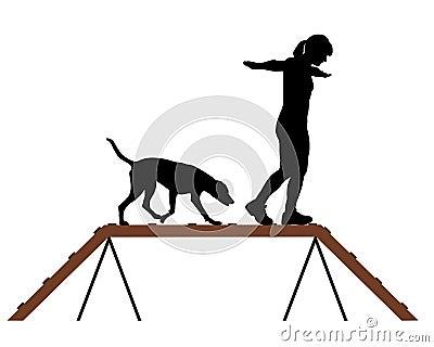 Woman and dog on dogwalk