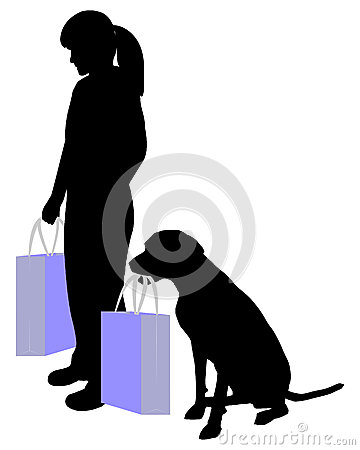 Woman and dog shopping