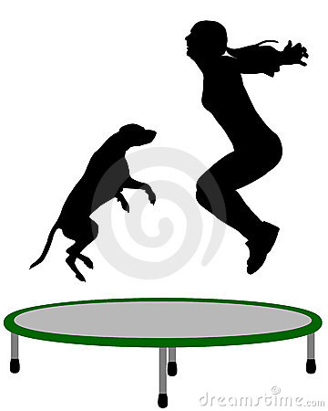 Woman and dog trampoline