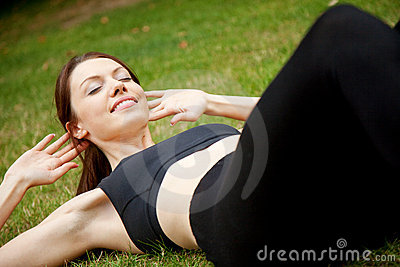 Woman doing abs