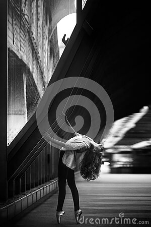 Woman Doing Ballet Dance On Side Walk In Grayscale Photo Free Public Domain Cc0 Image