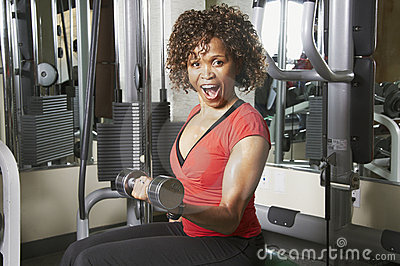Woman doing bicep excercise