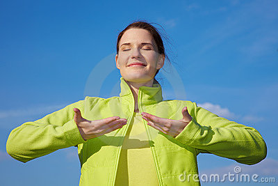 Woman Doing Breathing Exercises Stock Photo - Image: 15125240