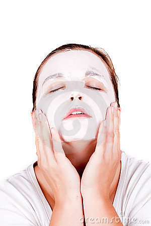 Woman doing cosmetic mask