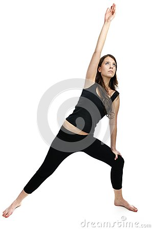Woman is doing an expert yoga exercise