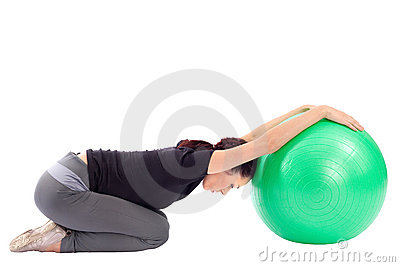 Woman Doing Gym Ball Exercise