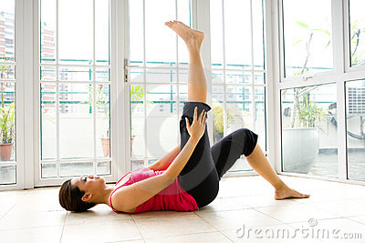 Woman doing her stretching exercise
