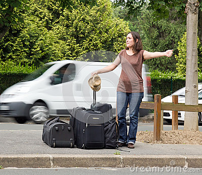 Woman doing the hitchhiking