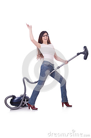 Woman doing housekeeping stuff