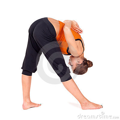 Woman Doing Intense Side Stretch Yoga Exercise