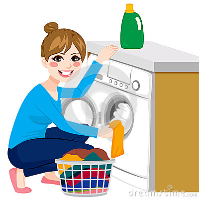 Woman Doing Laundry Stock Vector - Image: 58378245