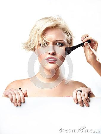 Free Woman Doing Make Up Royalty Free Stock Image - 17343616
