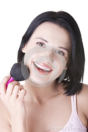Free Woman Doing Make-up On Face. Royalty Free Stock Photography - 26461037