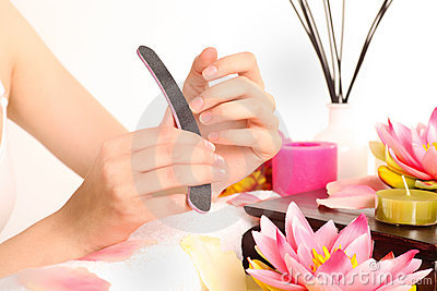 Woman doing manicure