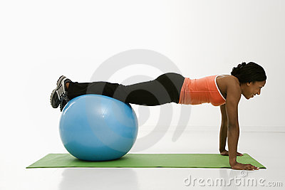 Woman doing push ups.