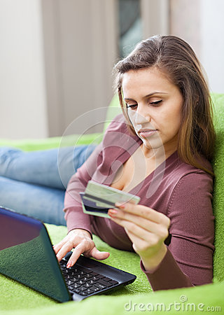 Woman doing shopping in internet