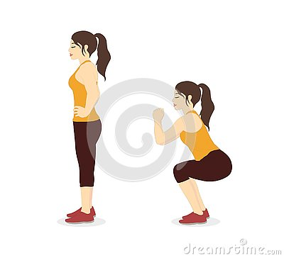 Woman doing squat workout two step for exercise guide. Cartoon Illustration