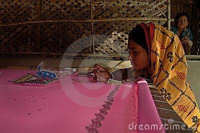 Woman doing weaving Editorial Stock Photo