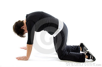 Woman doing yoga back press cat cow yoga position