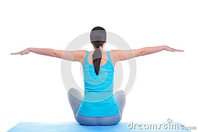 Woman doing yoga balance