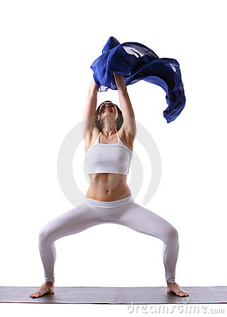 Woman doing yoga with blue cloth in air isolated